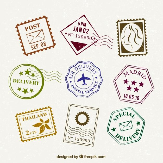 Coleção de selo liso no projeto do vintage Vetor Premium