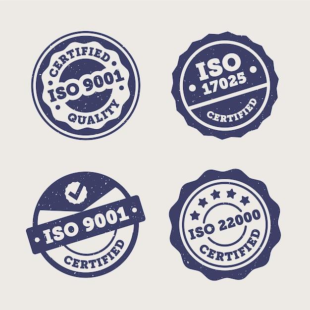 Coleção de selos de certificação iso Vetor Premium