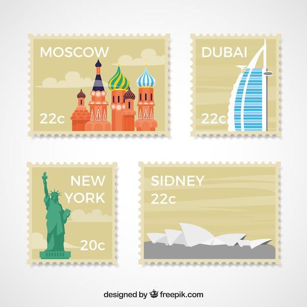 Coleção de selos de cidade em estilo plano Vetor grátis