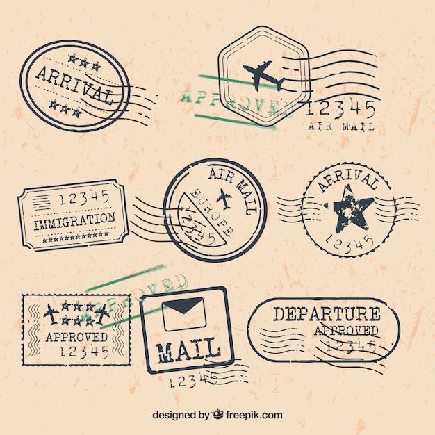 Coleção de selos de cidade em estilo retro Vetor grátis