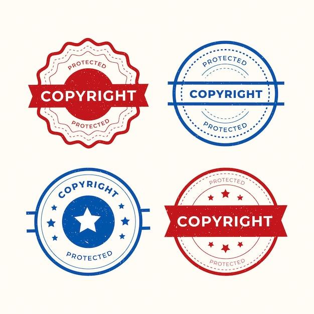 Coleção de selos de direitos autorais Vetor grátis