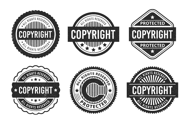 Coleção de selos de direitos autorais Vetor Premium