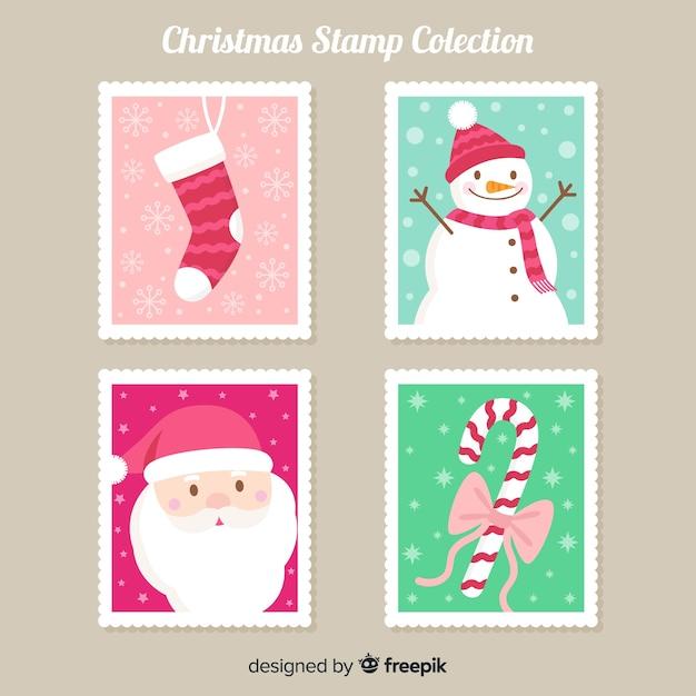Coleção de selos de elementos de natal Vetor grátis