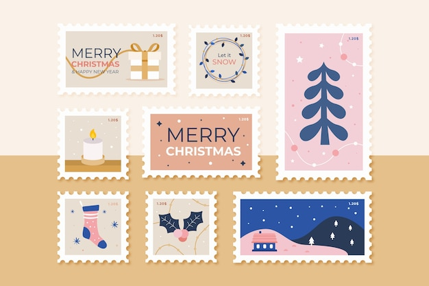 Coleção de selos de natal em design plano Vetor grátis