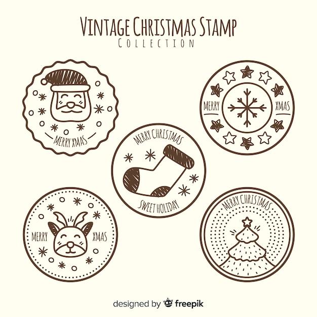 Coleção de selos de natal vintage Vetor grátis
