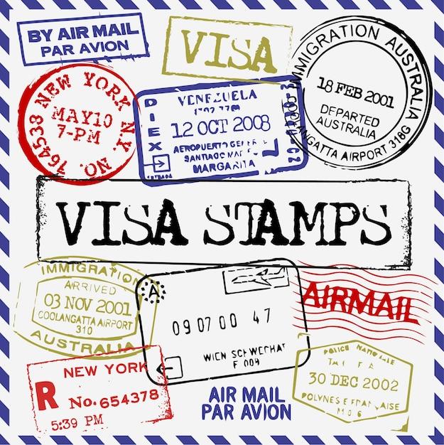 Coleção de selos de visto Vetor grátis