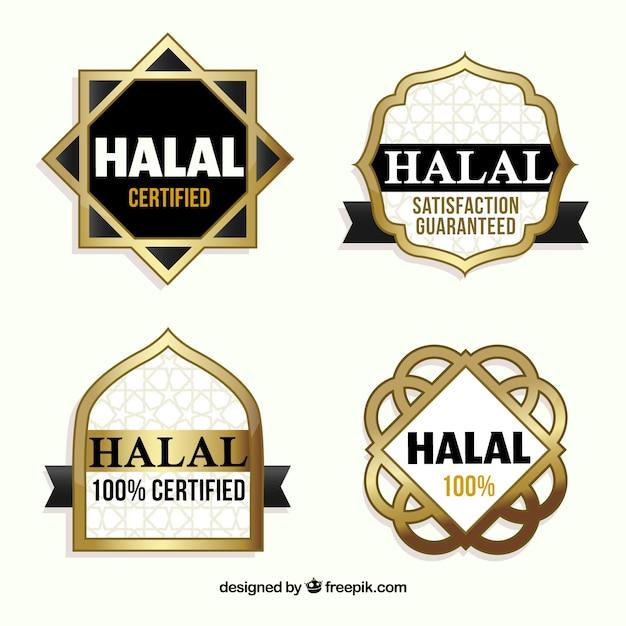 Coleção de selos halal com estilo dourado Vetor grátis