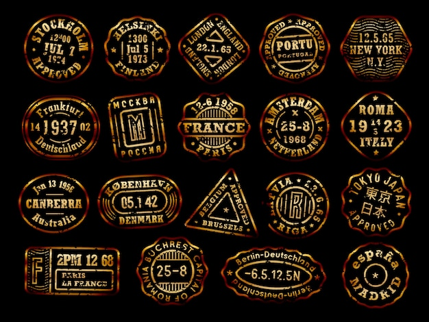 Coleção de selos postais dourados com efeito de envelhecimento, selos de destino, conjunto de distintivo do país, emblemas de tinta ouro sobre fundo preto. Vetor Premium