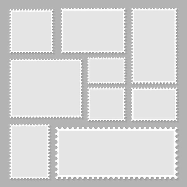 Coleção de selos postais em branco Vetor Premium