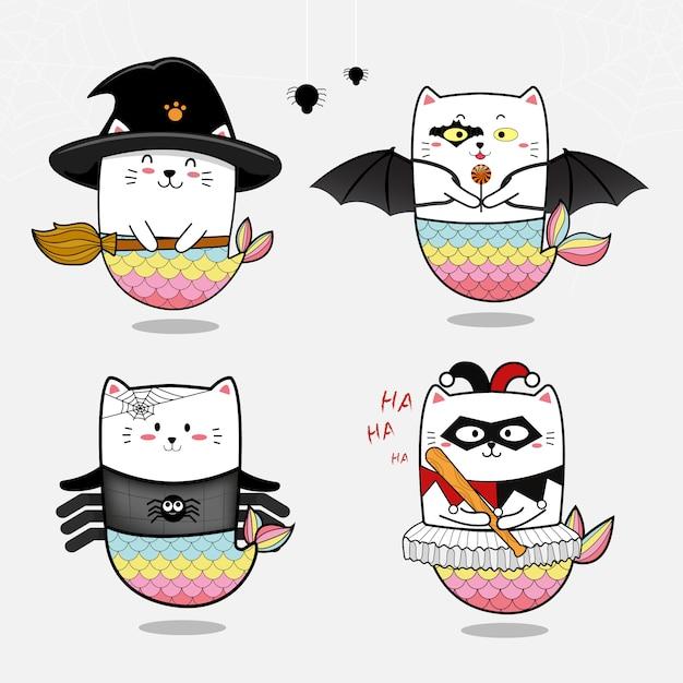 Coleção de sereia gato bonito conjunto para o halloween Vetor Premium