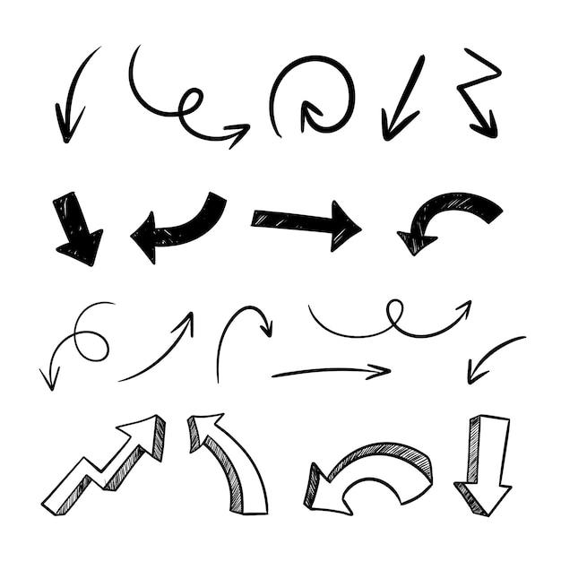 Coleção de setas minimalistas desenhadas à mão Vetor grátis