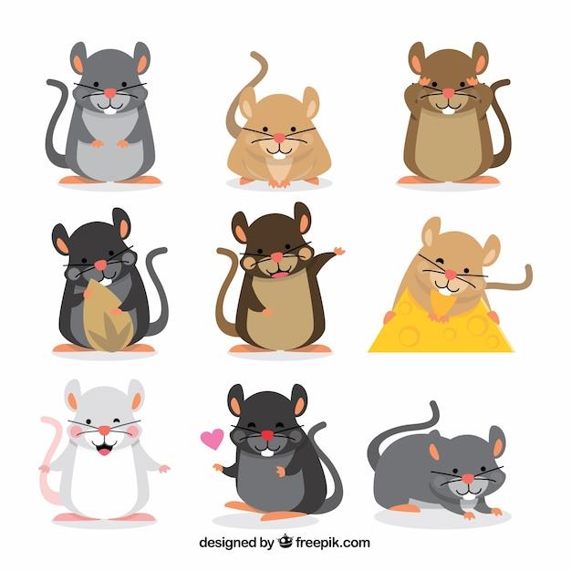 Coleção de sete conjuntos de ratos desenhados a mão Vetor grátis