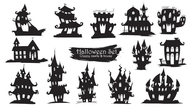 Coleção de silhueta assustador castelo do dia das bruxas Vetor Premium