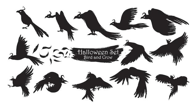 Coleção de silhueta de corvo assustador de halloween Vetor Premium