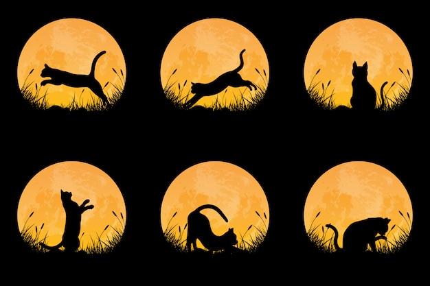 Coleção de silhueta de gato em postura diferente no campo de grama com fundo de lua cheia Vetor Premium