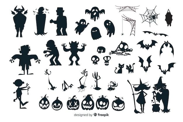 Coleção de silhueta de halloween Vetor grátis