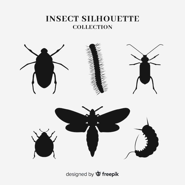 Coleção de silhueta de insetos Vetor grátis