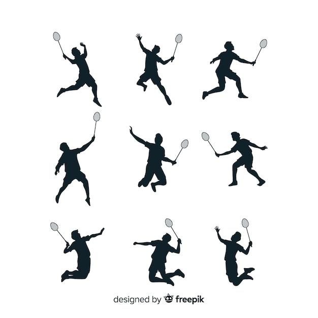 Coleção de silhueta de jogador de badminton Vetor grátis