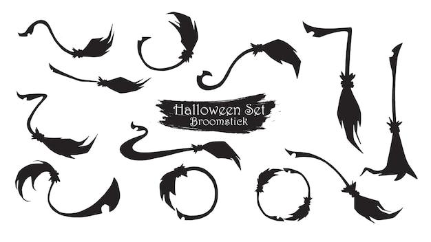 Coleção de silhueta de vassoura assustador de halloween Vetor Premium