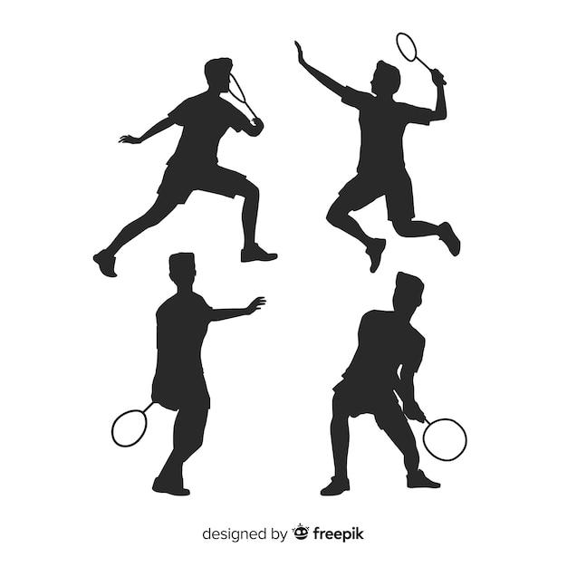 Coleção de silhueta plana jogador de badminton Vetor grátis