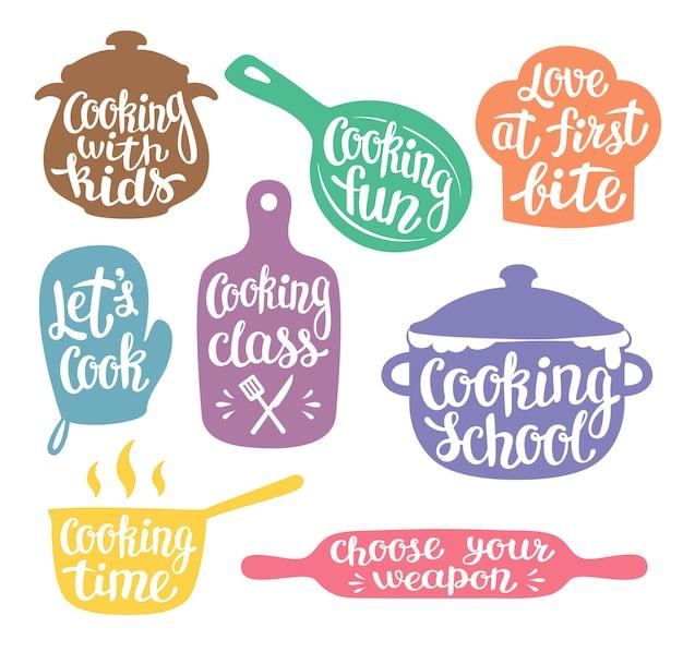 Coleção de silhuetas coloridas para cozinhar rótulo Vetor Premium