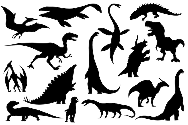 Coleção de silhuetas de esqueletos de dinossauros Vetor Premium
