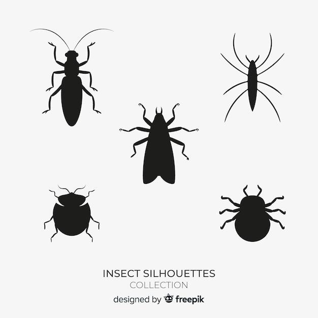 Coleção de silhuetas de insetos plana Vetor grátis