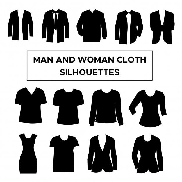 e7d4f5c79 Coleção de silhuetas de roupas de homem e mulher Vetor Premium