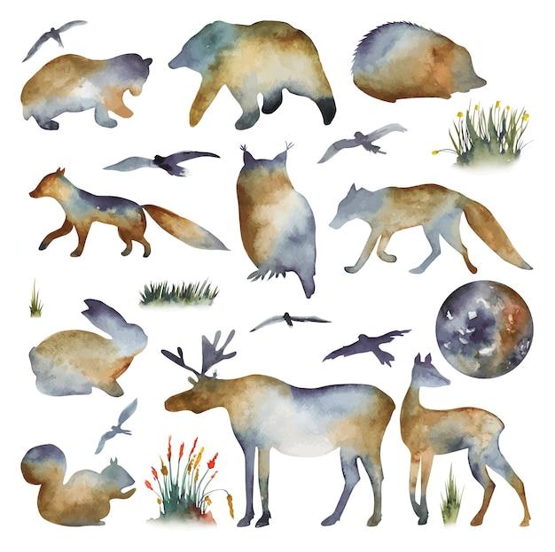 Coleção de silhuetas em aquarela de animais da floresta urso coruja raposa lobo veado lebre pássaros ouriço esquilo alce Vetor Premium