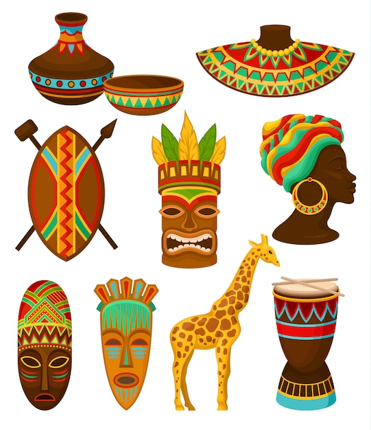Coleção de símbolos da áfrica, ilustrações sobre um fundo branco. Vetor Premium