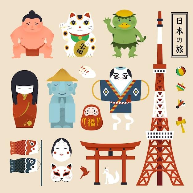 Coleção de símbolos da cultura japonesa Vetor Premium