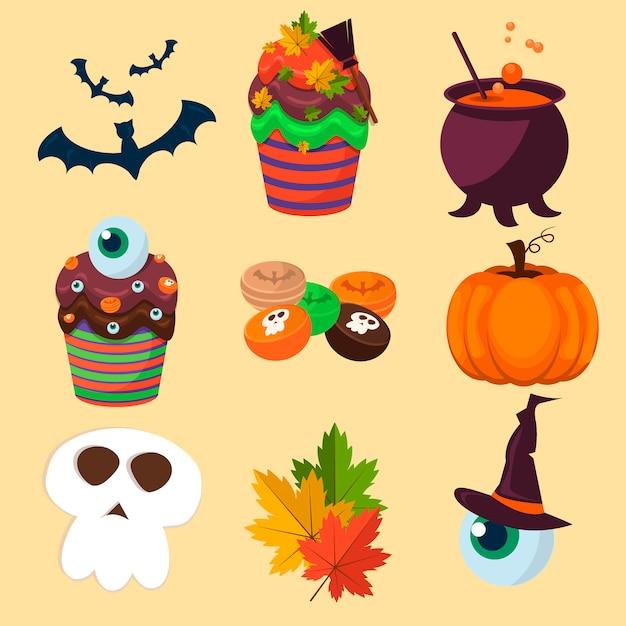 Coleção de símbolos do halloween. Vetor Premium