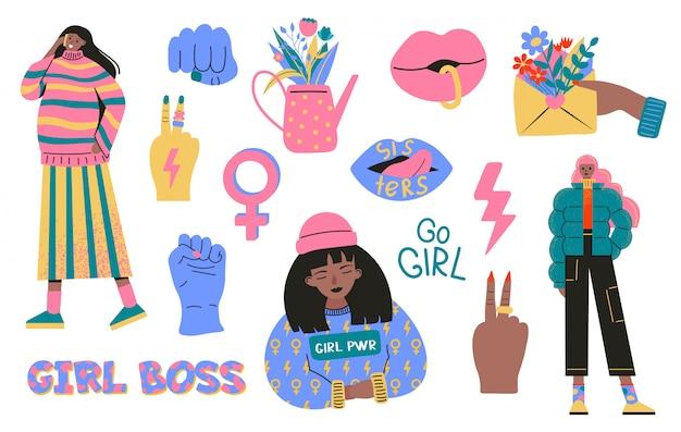 Coleção de símbolos do movimento feminismo e positividade do corpo. conjunto de adesivos coloridos com frases ou slogans feministas e corporais positivos. ilustração moderna em estilo cartoon plana Vetor Premium