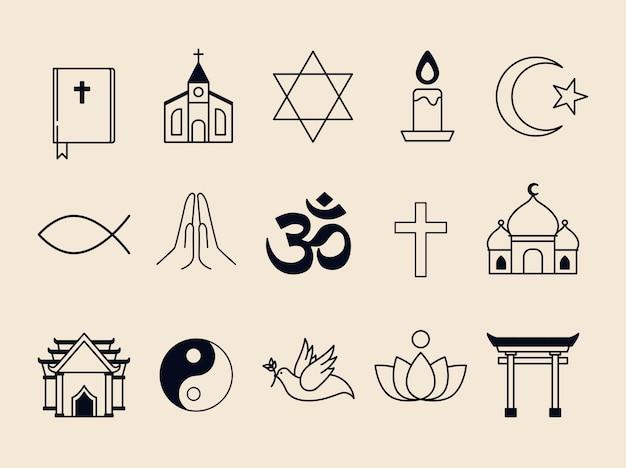 Coleção de símbolos religiosos ilustrados Vetor grátis