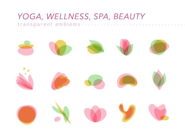 Coleção de símbolos transparentes de beleza, spa e ioga em cores claras isoladas. Vetor Premium