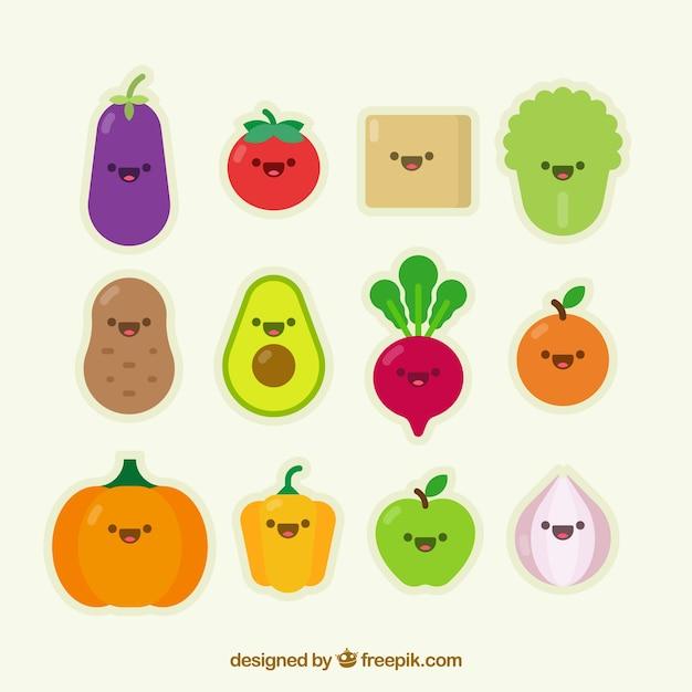 Coleção de simpático personagem vegetal Vetor grátis