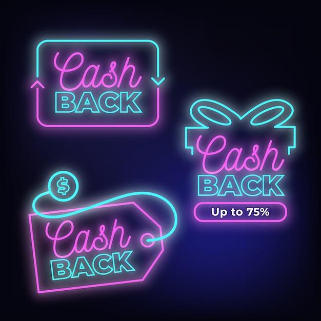Coleção de sinais de cashback de néon Vetor Premium