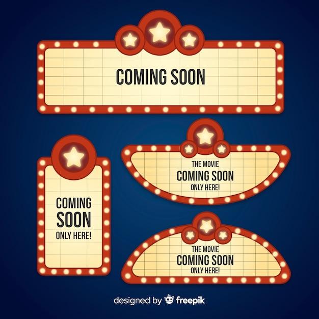 Coleção de sinais de teatro retrô em design plano Vetor grátis