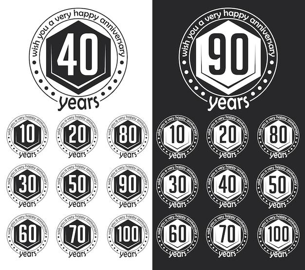 Coleção de sinal de aniversário estilo vintage. design de cartões de aniversário em estilo hippie. Vetor Premium