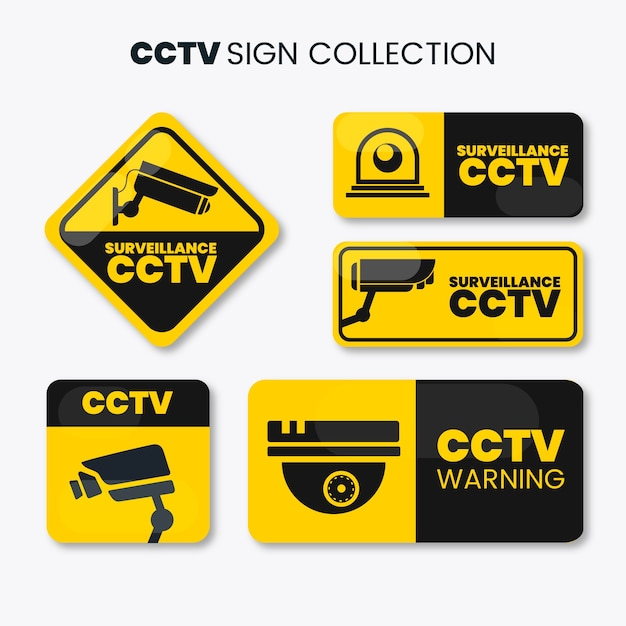 Coleção de sinal de cftv moderna com design plano Vetor grátis