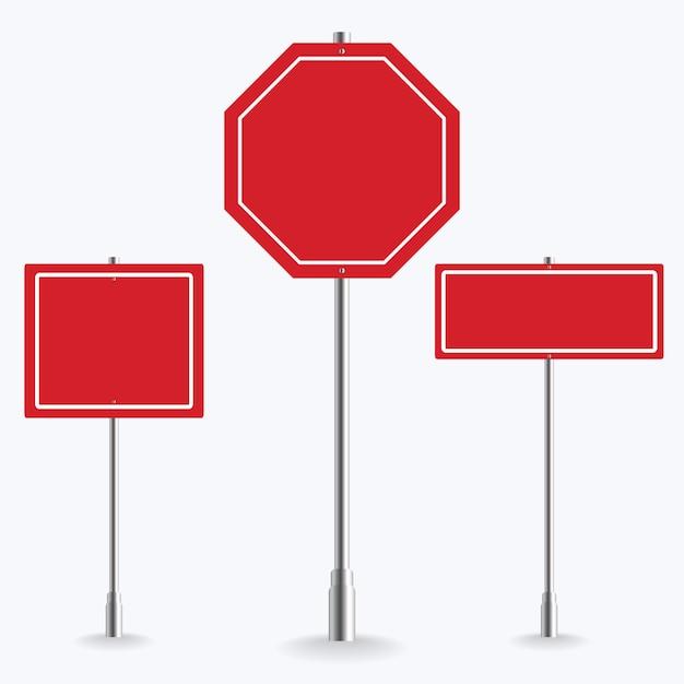 Coleção de sinal de estrada vermelha em branco sobre fundo branco. ilustração Vetor Premium