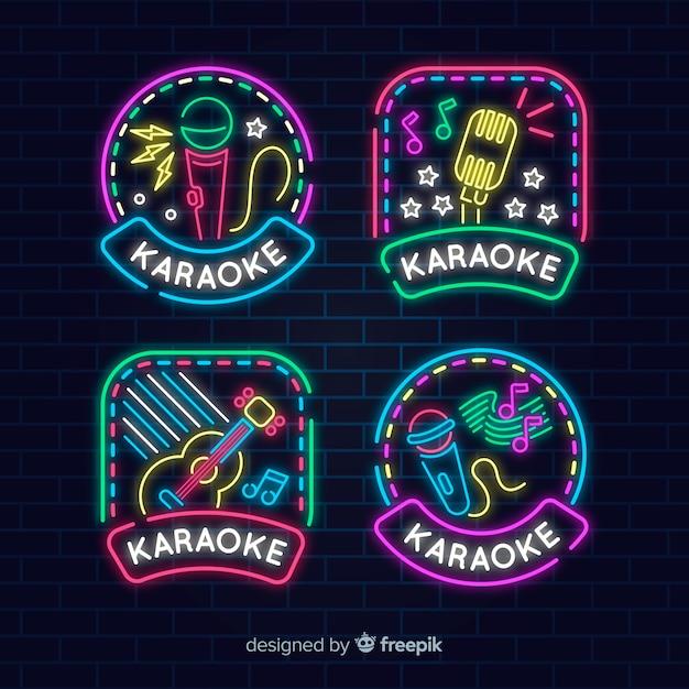 Coleção de sinal de karaoke luz neon Vetor grátis