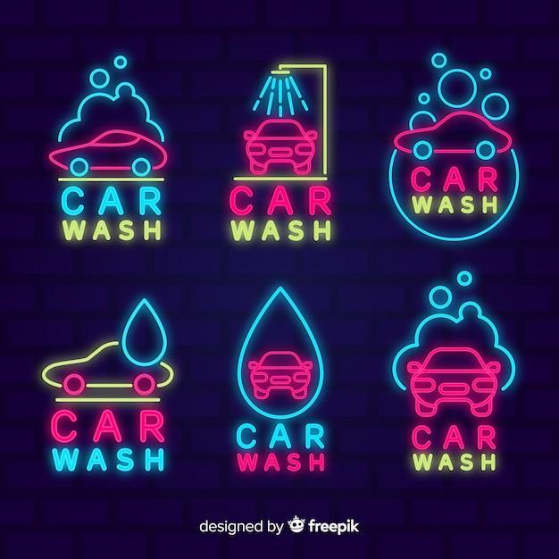 Coleção de sinal de lavagem de carro de néon Vetor grátis