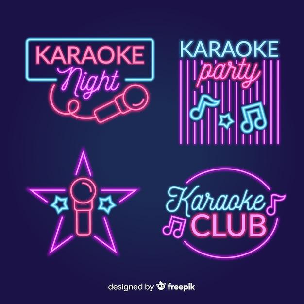 Coleção de sinal de luz de néon de karaoke noite Vetor grátis