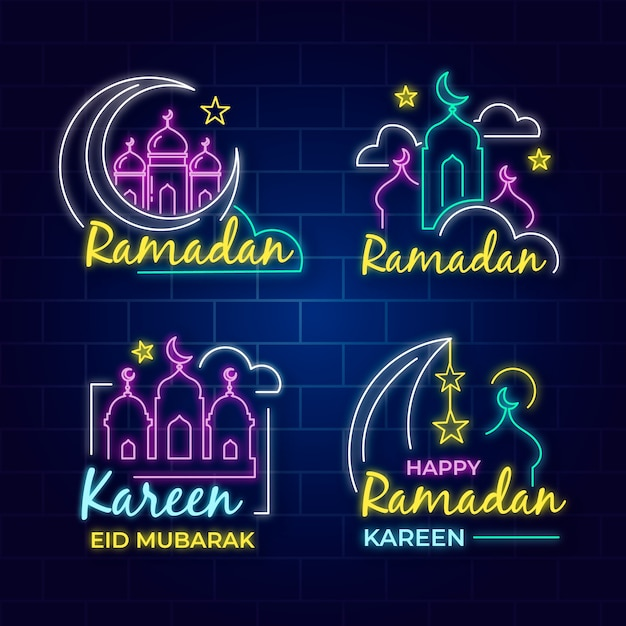 Coleção de sinal de néon com tema do ramadã Vetor grátis