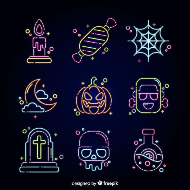 Coleção de sinal de néon de halloween Vetor grátis