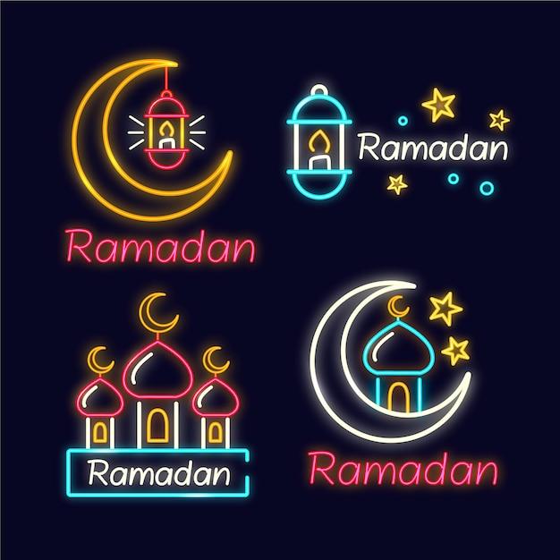 Coleção de sinal de néon do ramadã Vetor grátis