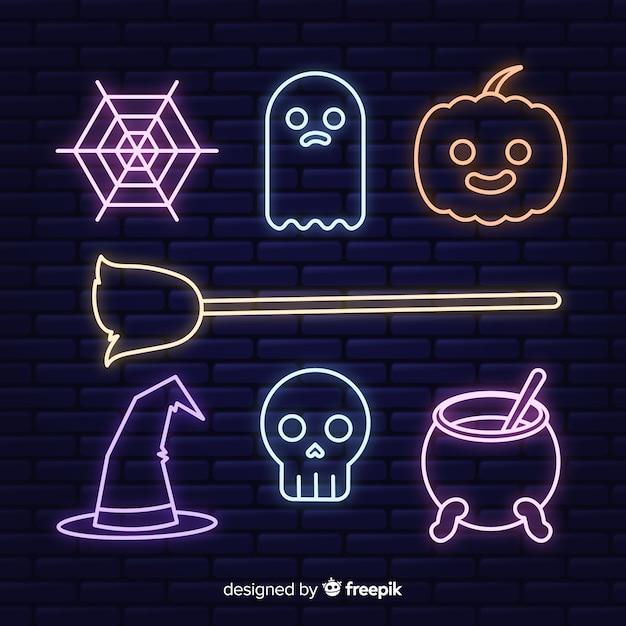 Coleção de sinal de néon para o halloween Vetor grátis