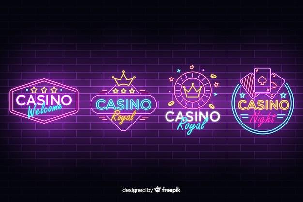 Coleção de sinal de néon realista casino Vetor grátis