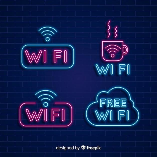 Coleção de sinal de wi-fi grátis de néon Vetor grátis
